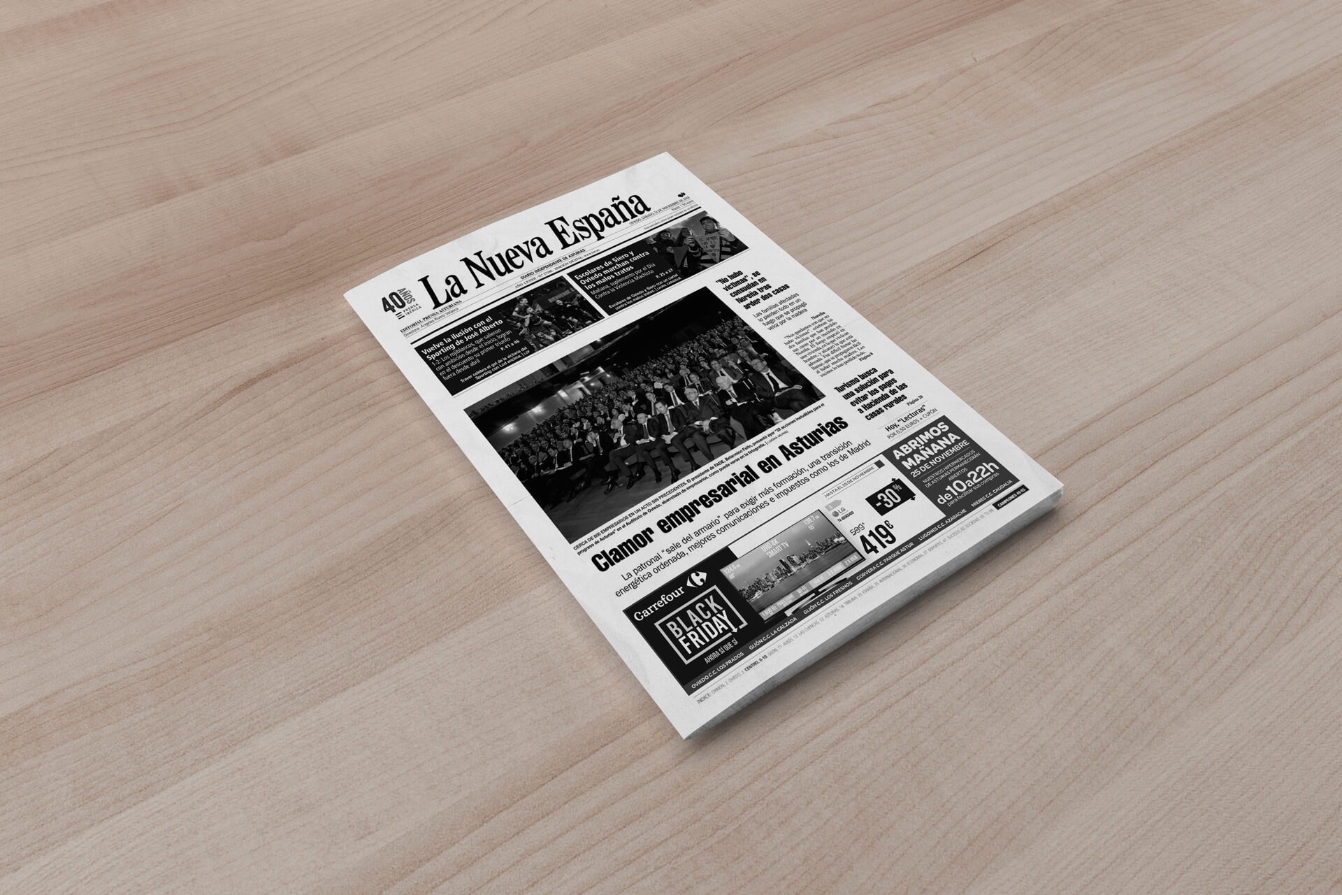 'Black Friday' press advertising design for Carrefour